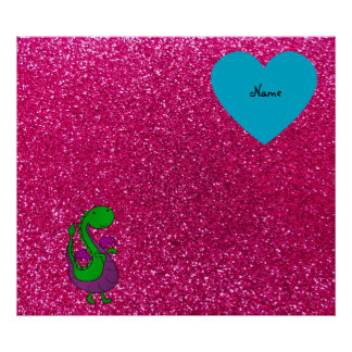 Personalized name dragon hot pink glitter print
