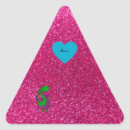 Personalized name dragon hot pink glitter sticker