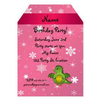 Personalized name dragon pink snowflakes 5x7 paper invitation card