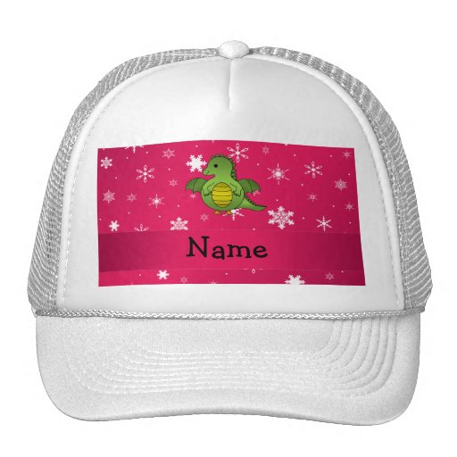 Personalized name dragon pink snowflakes trucker hats