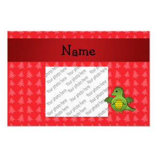 Personalized name dragon red christmas trees photo print