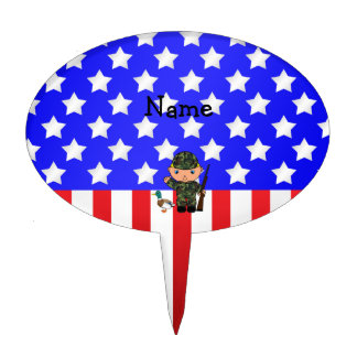 Personalized name duck hunter american flag cake toppers
