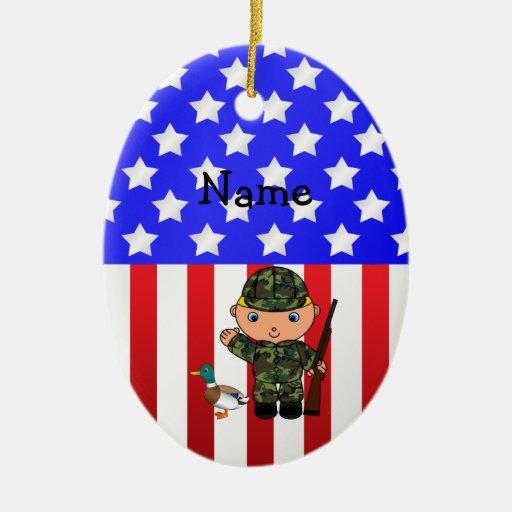 Personalized name duck hunter american flag ceramic