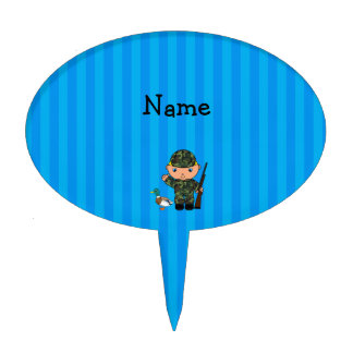 Personalized name duck hunter blue stripes cake picks