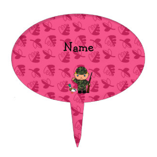 Personalized name duck hunter pink leaves cake pick