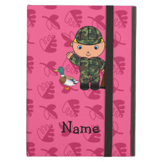 Personalized name duck hunter pink leaves iPad air case