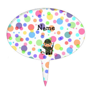 Personalized name duck hunter rainbow polka dots cake topper