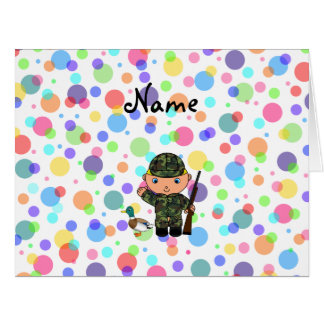 Personalized name duck hunter rainbow polka dots large greeting card