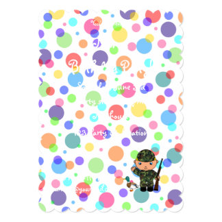 Personalized name duck hunter rainbow polka dots 5x7 paper invitation card