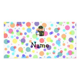 Personalized name duck hunter rainbow polka dots photo card