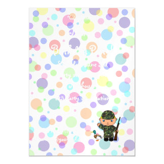 Personalized name duck hunter rainbow polka dots magnetic invitations