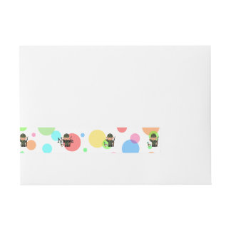 Personalized name duck hunter rainbow polka dots wraparound address label