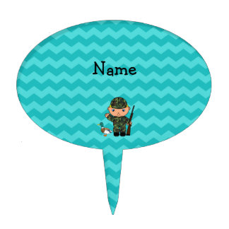 Personalized name duck hunter turquoise chevrons cake pick