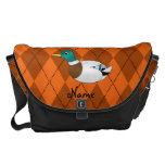 Personalized name duck orange argyle messenger bags