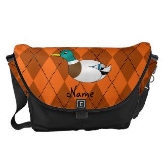 Personalized name duck orange argyle messenger bag