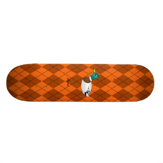 Personalized name duck orange argyle skate boards