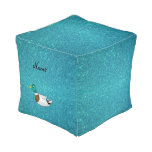Personalized name duck turquoise glitter cube pouf