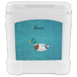 Personalized name duck turquoise glitter igloo rolling cooler