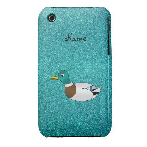 Personalized name duck turquoise glitter iPhone 3 cover