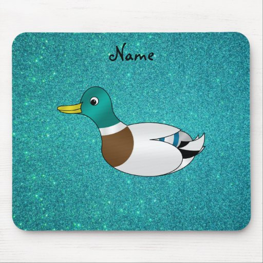 Personalized name duck turquoise glitter mouse pad