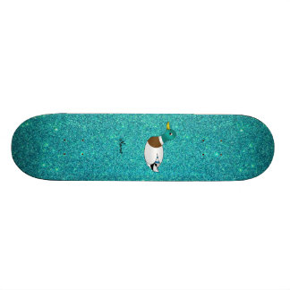 Personalized name duck turquoise glitter skate board decks