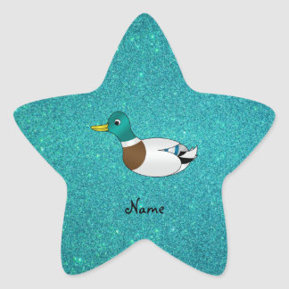 Personalized name duck turquoise glitter sticker
