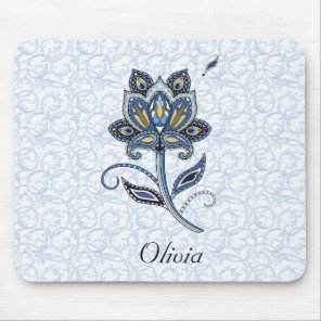 Personalized Name Elegant Floral Paisley Blue Mouse Pad