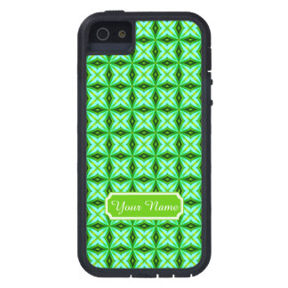 Personalized Name Elegant Green Abstract Stars Pat iPhone SE/5/5s Case