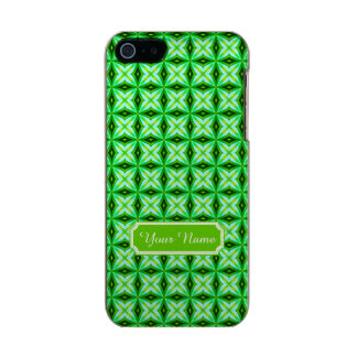 Personalized Name Elegant Green Abstract Stars Pat Metallic iPhone SE/5/5s Case