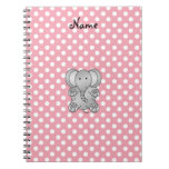 Personalized name elephant gifts spiral notebooks