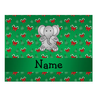 Personalized name elephant green candy canes bows postcard