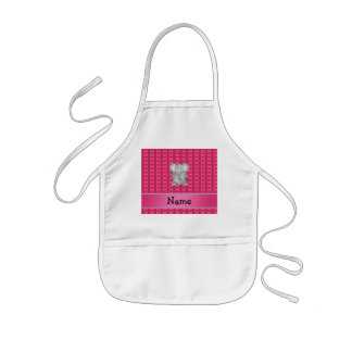 Personalized name elephant pink hearts and stripes kids' apron