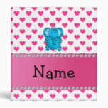 Personalized name elephant pink hearts polka dots binder