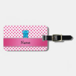 Personalized name elephant pink hearts polka dots travel bag tags