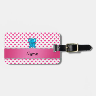 Personalized name elephant pink hearts polka dots luggage tag