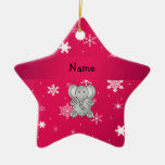 Personalized name elephant pink snowflakes ornament