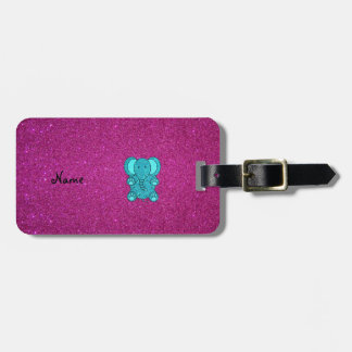 Personalized name elephant turquoise glitter bag tag