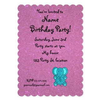 Personalized name elephant turquoise glitter card