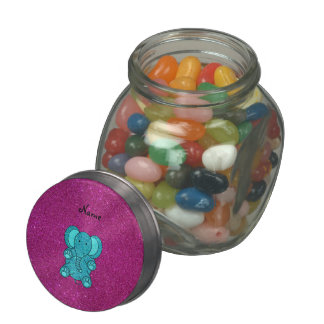 Personalized name elephant turquoise glitter glass candy jar
