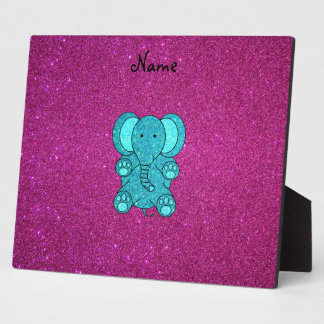 Personalized name elephant turquoise glitter plaque
