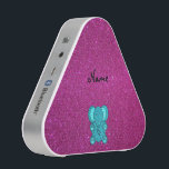 """Personalized name elephant turquoise glitter speaker<br><div class=""""desc"""">Faux glitter cute turquoise/aqua elephant on a pink glitter background personalized with your name gifts</div>"""