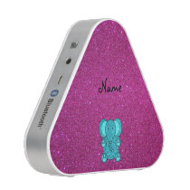 Personalized name elephant turquoise glitter speaker
