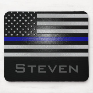 Personalized Name Embossed Thin Blue Line Flag Mouse Pad