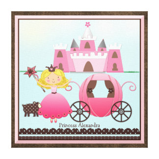 Personalized Name Fairy Princess Castle and Coach Canvas Print