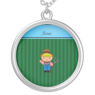 Personalized name farmer green stripes necklace