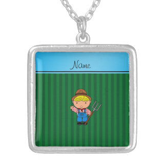 Personalized name farmer green stripes jewelry