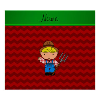Personalized name farmer red chevrons poster