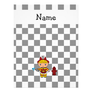 "Personalized name fireman black and white checkers 8.5"" x 11"" flyer"
