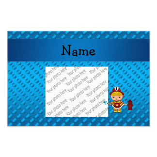 Personalized name fireman blue polka dots photographic print