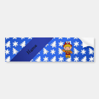 Personalized name fireman blue snowflakes trees car bumper sticker